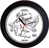 Lucky Clocks TAUBEN ZUM 40. HOCHZEITSTAG RUBINHOCHZEIT grau Wanduhren für jeden Anlass mit jeder Beschriftung und jedem Vornamen Namen erhältlich