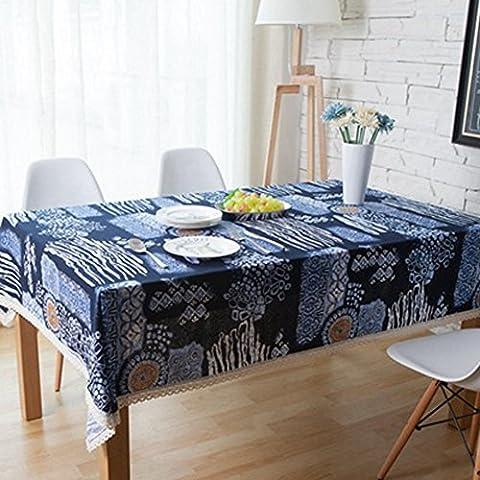 memorecool National de style méditerranéen rétro table rectangulaire Chiffon anti-poussière multifonction dining-table Housse en tissu en lin/coton tissu art 119,4x 119,4cm, Coton, bleu marine, 55 inch by 71 inch