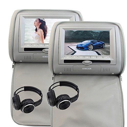 2 sans fil gratuit Casque IR Eincar gris gris intégré Transmetteur FM IR Double Oreiller de voiture Moniteurs lecteur double DVD 7 pouces Double écrans Paire de Appuis-tête Supporte 32 bits des jeux