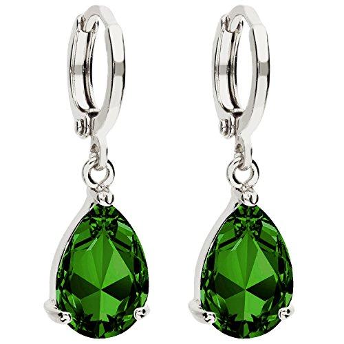 MYA art Damen Creolen Ohrringe Hängend Ohrhänger mit Zirkonia Stein Tropfen Oval Anhänger Silber Smaragd Grün Vergoldet MYAWGOHR-74 - Silber Oval Ohrringe