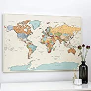 Planisfero da Parete - Dettagliato Cartina Geografica Del Mondo con Puntine - Stampa su Tela - Diario di Viagg