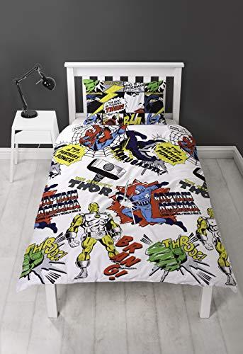 eller Scribble Einzelbett-Bettbezug Design Spiderman, Captain America, Hulk Design, wendbar, zweiseitig, Bettbezug mit passendem Kissenbezug ()