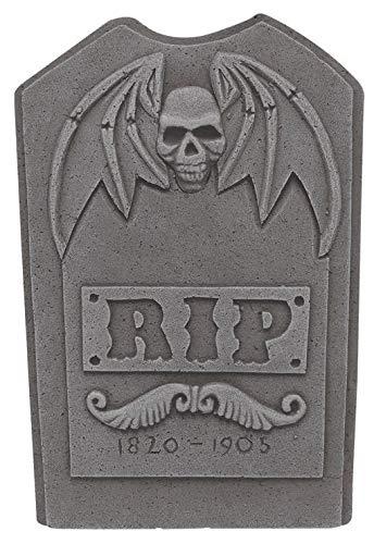 Horror-Shop Künstlicher Halloween Grabstein RIP mit Schädel und Flügeln