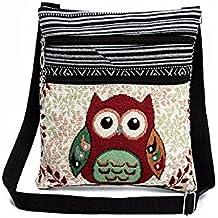 ESAILQ Las mujeres bordaron bolsos de hombro del vintage del búho bolsas de mano