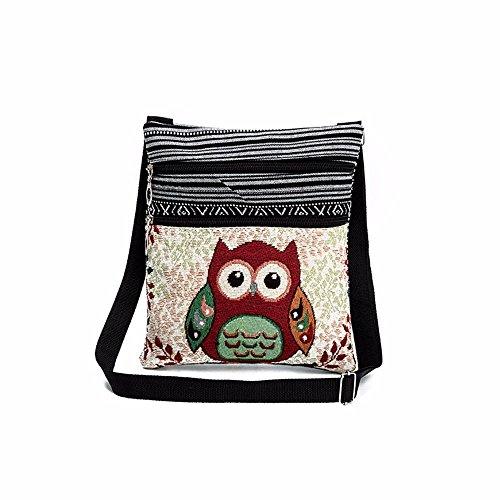 Sunday Bestickte Eule Tragetaschen Frauen Schultertasche Handtaschen Briefträger Reißverschluss Leinen Mode Schultertasche Postman Paket 23.5cm(H)×1cm(W)×21cm(L) (B) (Schwarze 2 Leder-handtasche)