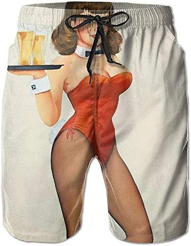 Hombre Pantalones Cortos Summer Moon Fire Men's Pin Up Girl...