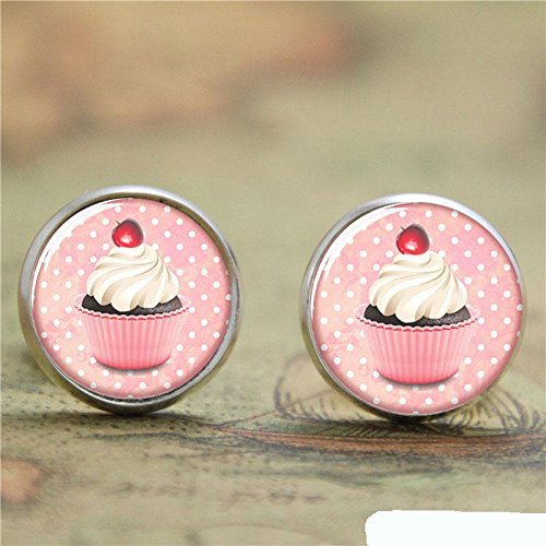 Vintage Cupcake Ohrringe handgefertigt Zubehör Silber kleine Eiskuchen Glas Kuchen Bild Ohrring Schmuck für Frauen (Cupcake-kuppel)