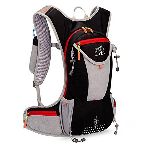 Fahrrad Rucksäcke 12L Groß Volumen Outdoor Schultasche integriert Nacht Sicherheit Reflektierende Streifen Rucksack perfeckt für Radsport Jogging Wanderung Outdoor Sport Skateboard Bergsteigen usw. Schwarz