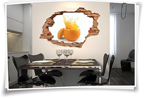 3D Wanddurchbruch Wandbild Wandtattoo Aufkleber Obst Ananas Saft Küche Orange, 120x80cm (Ananas-orangen-saft)