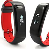 Smart Band P1 / Sport - Fitness Armband mit Herzfrequenz und Pulsmesser / Activity watch Tracker / Uhr / Wasserdicht IP67 - ROT