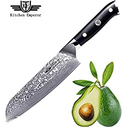 Kitchen Emperor Coltello Santoku Damasco, Coltelli da Chef, Professionali Acciaio da 67 Strati Damasco con Impugnatura G10