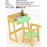 DigiArts Green Color Kinderjoy Wooden Multi-Purpose Kids Study Table And Chair Set