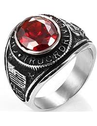 JewelryWe Gioielli anello da uomo donna retro stile acciaio inossidabile anello Band per fidanzamento matrimonio(con regalo borsa)