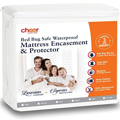 Cheer Collection Premium Qualität und Bettwanzen wasserdichte Matratze umgreifung/Displayschutzfolie, Polyester, weiß, California King (Bett Matratze Tasche Bug +)