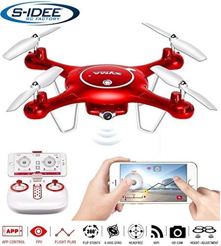 Preisvergleich Produktbild s-idee® 01652 X5UW Quadrocopter Syma Wifi HD Kamera FPV Höhenstabilisierung, Headless Mode VR möglich, Drohne 360° Flip Funktion, 2.4 GHz mit Gyro, 4-Kanal, 6-AXIS System Drone mit Camera 720p