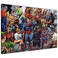 """Pop Art Lienzo Pared Art Prints imágenes DC Comics Liga de la justicia superhéroes habitación decoración de fotos de grupo artistas pintura superhéroe Póster Impresión imagen, lona, 4- 20"""" X 16"""" (50CM X 40CM)"""