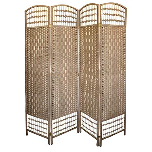 Biombo Separador de Ambientes, Grande, Color Cerezo Claro de Bambú Natural, Patas Acero Inoxidable. Varias Medidas- Hogar y Más - 4 Paneles