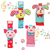 Twister.CK 4 Pack Wrist Rattle & Foot Finder Socks, Adorable Animal Infant Baby Rattles Best Gift Developmental Toys Set - Puppy and Piggy