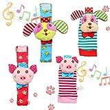 Twister.CK 4 Pack Wrist Rattle & Foot Finder Socks, Adorable Animal Infant Baby Rattles Best Gift Developmental Toys Set - Puppy and Piggy