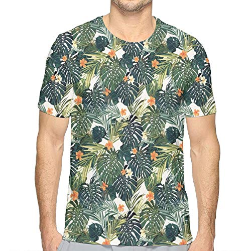 Hibiscus-aloha-shirt Herren (3D Printed T Shirts,Hawaiian Summer Aloha Pattern with Tropical Plants and Hibiscus Flowers L)