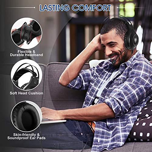 ELEGIANT Gaming Headset ps4, Gaming Kopfhörer Noise Cancelling Headphones Bügelkopfhörer mit Reiner Tonqualität Mikrofon 3,5mm Klinke für PS4 Pro/PS4 Xbox One PC Laptop Tablet Mac - 4