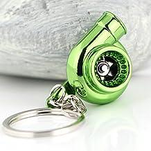 Creative Spinning Llavero, llavero, diseño de turbina de coche, modelo Fashion Auto Parte favoritos de ventilador Turbocompresor de Turbo Llavero Anillo Keyfob (metálico), color verde