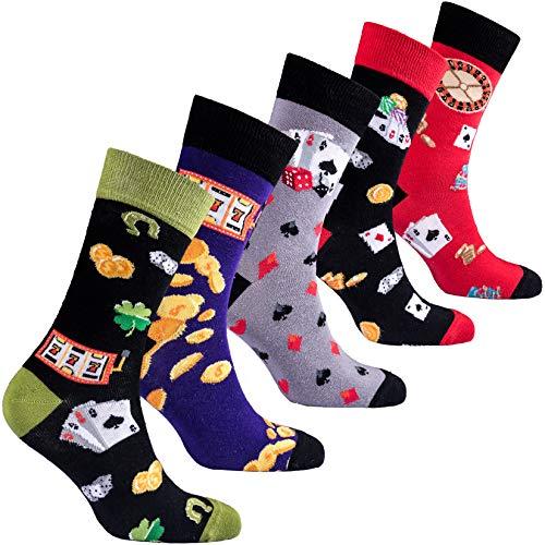 socks n socks-Männer 5 pk Bunte Baumwolle Neuheit Roulette Glücksspiel Karten Socken Geschenkbox Einheitsgröße (Glücksspiele)