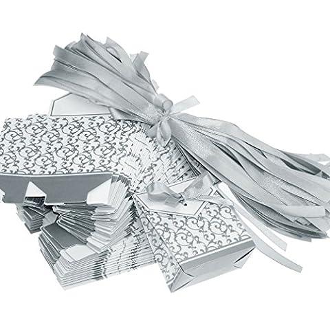 100pcs boîtes à dragée Argenté Cadeau bonbonnière pour Mariage Anniversaire Naissance