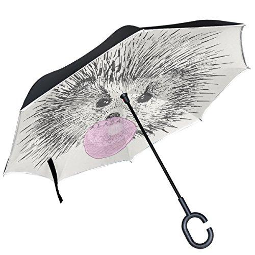 Alaza Igel Inflatable Bubble Gum auf weiß seitenverkehrt Regenschirm Double Layer winddicht Rückseite Regenschirm Double Bubble Gum