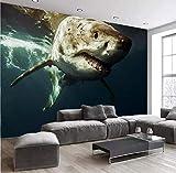 Mur Tissu Mer Fond Du Monde Océan Grand Requin Photo Papier Peint Murale Salon Enfants Chambre Décoration Murale 3D Fresque 250 * 175 cm