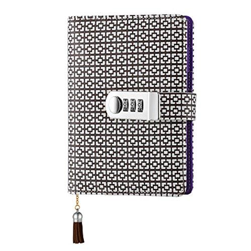 Notizbuch aus Leder Notizbuch Record Tagebuch mit Schloss,Schreiben Notizblock für Frauen Mädchen und Jungen TPN104- braun