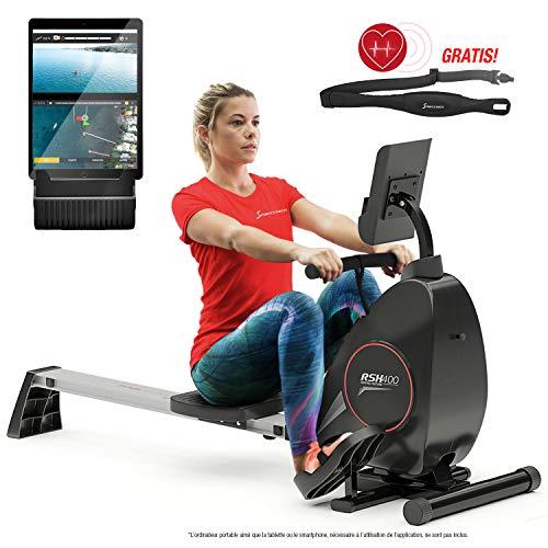 Sportstech RSX400 Rameur d'appartement Pliable, ergomètre Compatible avec Application Smartphone, Ceinture Cardio, Pliable et Pratique, 8 niv de résistance, siège avec roulements à Billes