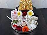 #9: GoldGiftIdeas 7PS Plus (7 Inch) Silver Plated Pooja Thali Set with Free German Silver Coin, Classic Occasional Gift, Pooja Thali Decorative, Wedding Return Gift