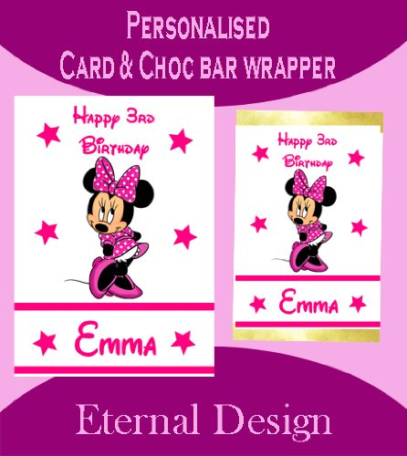 Personalisierte Geburtstagskarte & inkl. passender Schokotafel-Verpackung Minnie Maus 2
