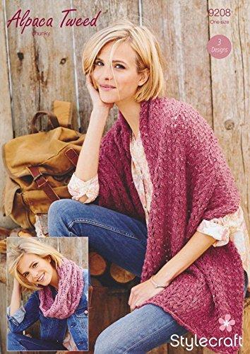 Stylecraft Damen Wrap & Schal Alpaka Tweed Strickmuster 9208Chunky (Tweed-wrap)