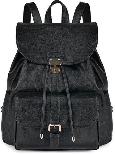 Damen Rucksack, Coofit Kleiner Rucksack Schwarz Leder Rucksack Elegant Schulrucksack Rucksack Handtasche Daypack Schulranzen (Damen-flasche)