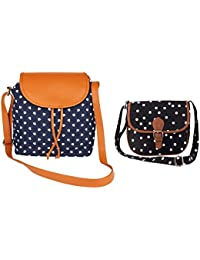 Lychee Bags Girls Pack Of 2 Canvas Printed Blue-Tan Sling & Black Sling Bag (CMB2_LBHBCP14BH_LBHBCP19PO)