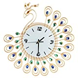 Zarupeng Retro Pfau Wanduhr, Weinlese-Art Antike Lautlos Wanduhr Analog Quartz Uhr für Hauptküchen, Büro, Wohnzimmer und Schlafzimmer (One Size, Gold)