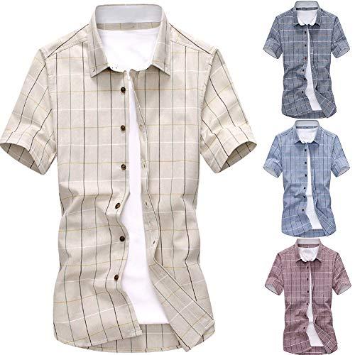 obiqngwi Chemise à carreaux pour hommes Coton à manches courtes Col rabattu Haut décontracté d'été XXXL Light Blue