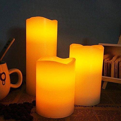 LED Velas Eléctrica Uvistar Velas Decorativas Regalo Velas LED de Cera Real sin Llamas y Mando con control remoto y temporizador para el San Valentín la Boda Navidad Conjunto de 3( 4 pulgada 5 pulgada 6 pulgada )