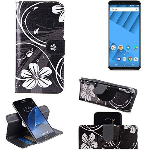 K-S-Trade® Schutzhülle Für Vernee M6 Hülle 360° Wallet Case Schutz Hülle ''Flowers'' Smartphone Flip Cover Flipstyle Tasche Handyhülle Schwarz-weiß 1x