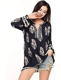 Meaneor Mini Robe Imprimé Tunique Boheme Loose Blouse Col-V T-Shirt Manche Long