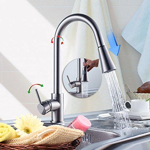 AuraLum 360°Drehbar Küchenarmatur mit herausziehbarem/ausziehbar Brause Küche Spültischarmatur Einhebelmischer Wasserhahn Mischbatterie Spülbecken Armatur