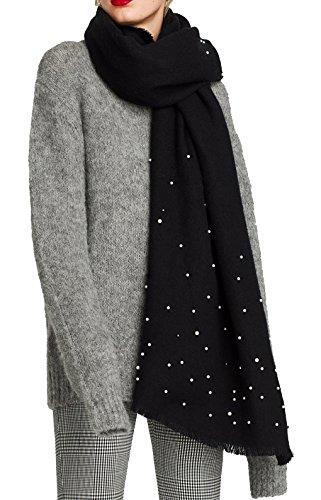 Antony morale sciarpa di lana foulard soft con dettaglio di perle modello zara invernali donna perla decorazione caldo lungo scialli mantella