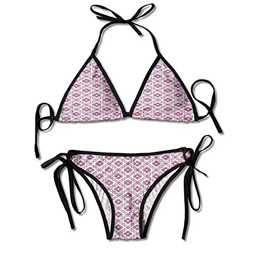 Padded Halter Bikini Set,Purple Shade Retro Style Sexy Bikini 2 Pieces