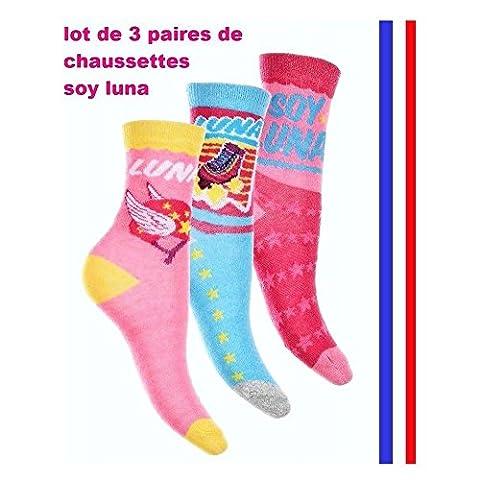Lot de 3 paires de Chaussettes pour filles taille 31 à 34 (rose,bleu,rose)