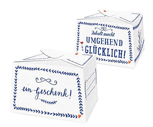 10 kleine Pralinenschachteln EIN GESCHENK! in Blau Weiß | für süße Kleinigkeiten im Adventskalender | Kuchenschachteln zum selbst Befüllen, für Gastgeschenke zur Hochzeit, Geburtstag, Konfirmation