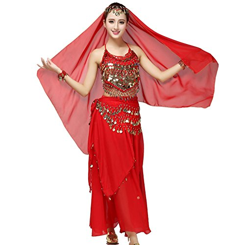 Damen Damen Belly Dance Costume Performance Kostüm Chiffon Top mit Brust-Pad + Skirt + Taille Gürtel + großen Kopf Schal , red , all