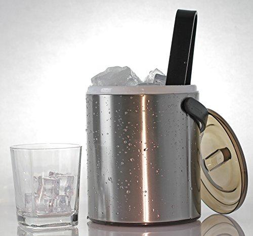 Edelstahl Eiseimer 1,6 Liter doppelwandig, mit perforiertem Einsatz und Kunststoffzange klein mit Deckel und Zange Eiswürfel Eis Behälter Thermo