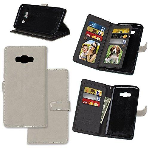 EKINHUI Case Cover Frosted Style Premium PU Leder Geldbörse Hülle Flip Stand Abdeckung Fall mit 9 Card Cash Slot für Samsung Galaxy J9 ( Color : Gray ) Gray